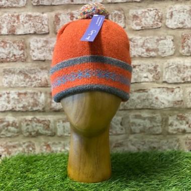 Elie - Turnback rib hat with pom pom, Made in Scotland