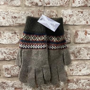 Fairisle gents lambswool gloves, Made in Scotland (code sale49)