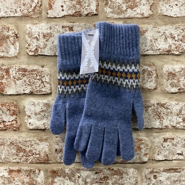 Fairisle ladies lambswool gloves, Made in Scotland