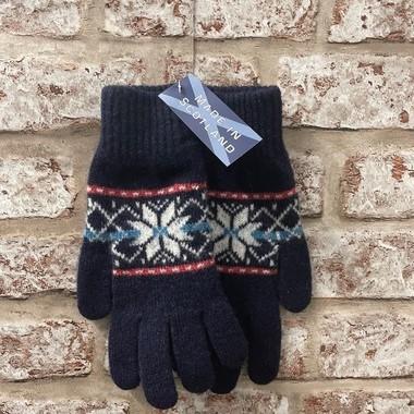 Fairisle ladies lambswool gloves, Made in Scotland (code sale48)