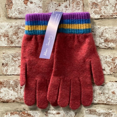 Leven - Plain glove with striped cuff, Made in Scotland