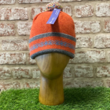 Elie - Turnback rib hat with pom pom, Made in Scotland