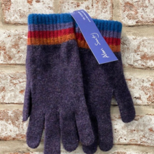 Leven - Plain glove with striped cuff, Made in Scotland